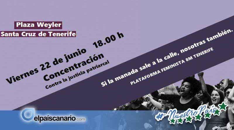 22 JUNIO. Concentración en Santa Cruz de Tenerife ante la puesta en libertad de la Manada