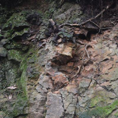Por debajo de aquí es por donde han puesto la acera junto con un muro donde rebotan las piedras sueltas. En lugar de alejarlos del peligro, llevándolos al otro lado de la pista, los han metido debajo.