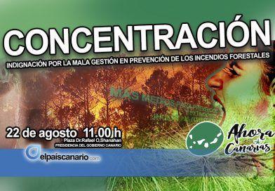 """AHORA CANARIAS: """"llamamos a apoyar la concentración de indignación por la mala gestión en la prevención de los incendios forestales"""""""