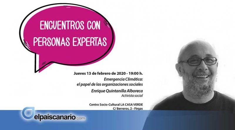 """13 FEBRERO. Enrique Quintanilla Alboreca, nuevo invitado a los """"III Encuentros con Personas Expertas"""" en Firgas"""