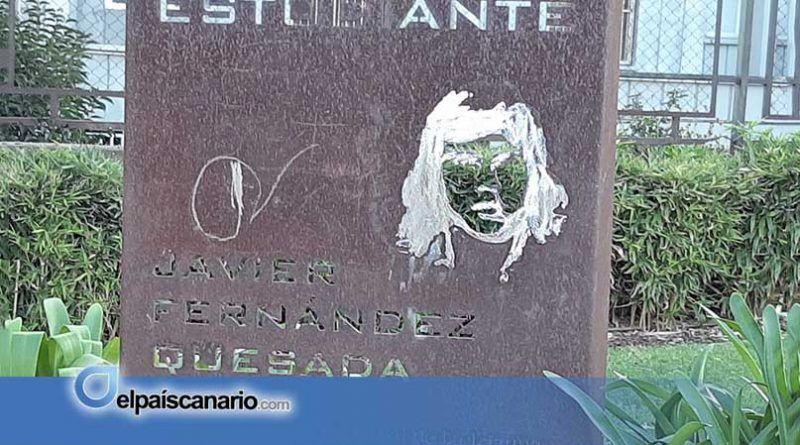 Intersindical Canaria denuncia el ultraje al monolito de Javier Fernández Quesada en el municipio de La Laguna