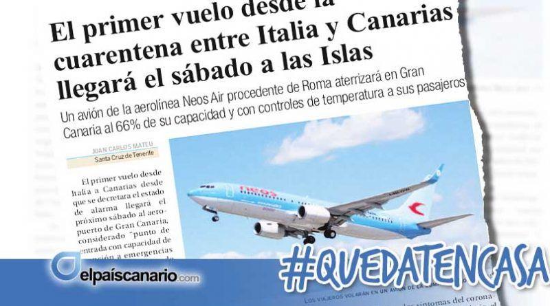 """Un vuelo """"fantasma"""" que llega a las Islas desde Italia"""