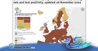 El semáforo europeo omite los datos de Canarias